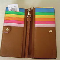 Nwt Coach Rainbow Colorblock Slim Wallet Iphone Wristlet 53894 Saddle/multi Photo