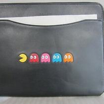 Nwt Coach Rare Pac Man Black Leather Tablet Case Tech Multi Purpose Pouch Photo