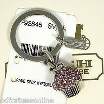 Nwt Coach Rare Pink Pave Swarovski Cup Cake Crystal Key Ring Chain 92845 Dessert Photo
