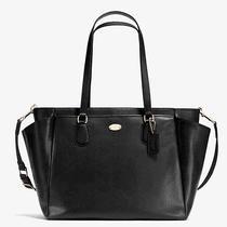 Nwt Coach Receipt Crossgrain Leather Diaper Baby F35702 Travel Black Bag 495 Photo