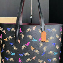 Nwt Coach Rexy & Carriage Repeat Print Multi Color Black Highline Tote 89027 Photo