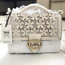 Nwt Coach Riley Top Handle 22 With Floral Applique 697 Brass/ Chalk Photo