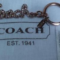 Nwt Coach Rose Gold and Pave Crystal Signature Logo Key Chain Ring Fob 92654 Photo