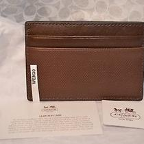 Nwt Coach Saddle Brown Embossed Leather Card Case 74466 Photo
