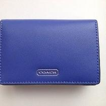 Nwt Coach Saffiano Leather Business Gift Card Case Wallet F68074 Porcelain Blue Photo