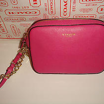 Nwt Coach Saffiano Leather Flight Wristlet Wallet Camera Bag 49790 Pink 138 Photo