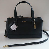 Nwt Coach Saffiano Mini Satchel 49392 / Black Photo