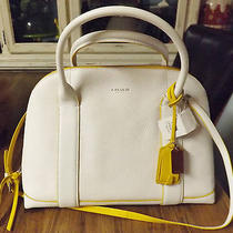 Nwt Coach Satchel Bleeker Preston Handbag Tote Bag Purse White Leather 378 Photo