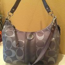 Nwt Coach Sexiest Grey Silver Signature Shoulder Stripe Hobo Crossbody Bag Purse Photo