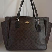 Nwt Coach Sig Coated Canvas Brown Black Baby Diaper Work Travel Bag 35414 Photo