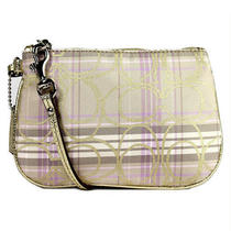 Nwt Coach Sign Tartan Plaid Wristlet Bag in Multicolor F 46179 Photo