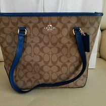 Nwt Coach Sign Zip Top Tote Handbag in Khaki/bright Mineral F 34603 295 Photo