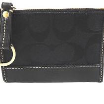 Nwt Coach Signature Black Mini Skinny Key Ring Chain Coin Id Case Wallet 6k25 Photo