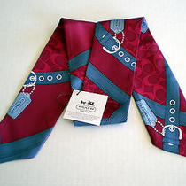 Nwt Coach Signature C Campbell Block Ponytail Scarf Bag Neck 100% Silk Burgandy Photo
