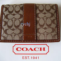 Nwt Coach Signature Card Case Wallet Khaki/brown 60355 Photo
