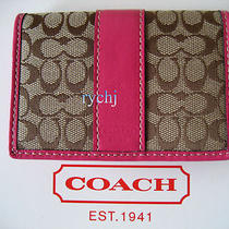 Nwt Coach Signature Card Case Wallet Khaki/pink 60355 Photo
