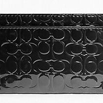 Nwt Coach Signature Embossed Glossy Card Case Leather Black Holder Id Wallet New Photo