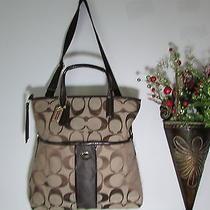 Nwt Coach Signature Foldover Tote Handbag F23304 Khaki / Mahogany  Photo