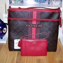 Nwt Coach Signature Gift Boxed Set Crossbody Purse & Soft Leather Wristlet  Photo