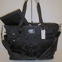 Nwt Coach Signature Nylon Diaper Baby Bag F77577  New Black Photo