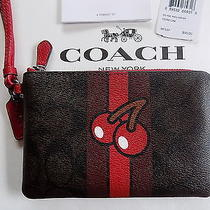 Nwt Coach Signature Pac-Man Corner Zip Limited Edition Wristlet Brown & Red 95 Photo