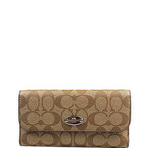 Nwt Coach Signature Pvc Checkbook Wallet in Khaki/sunset Red 250 F 52681 Photo