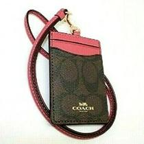 Nwt Coach Signature Pvc Lanyard Id Case Brown Rouge F63274 Photo