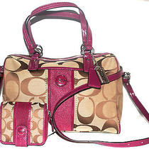 Nwt Coach Signature Satchel in Silver/khaki/passion Berry and Matching Wallet Photo