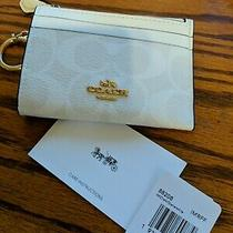 Nwt Coach Signature Skinny Id Case Wallet 88608 78 Glacier White Keychain Photo
