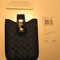 Nwt Coach Signature Small Black Electronic Ipod Phone Case 61128 Photo