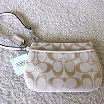Nwt Coach Signature Small Wristlet Bag Wallet Light Khaki / Pink Blush 45659 Photo
