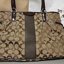 Nwt Coach Signature Stripe 12cm Drawstring Handbag Sv/khaki/mahogany Photo