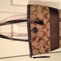 Nwt Coach Signature Stripe Bag Purse Tote F19046 Khaki/mahogany Photo