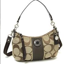 Nwt Coach Signature Stripe Demi Crossbody Handbag Purse Khaki Brown  F19218 Photo