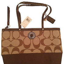 Nwt Coach Signature Stripe Khaki/mahogany Brown Tote Bag Purse Shopper  Photo
