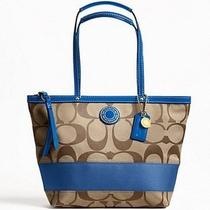 Nwt Coach Signature Stripe Tote 19046 Khaki/blue or Khaki/green or Khaki/brown Photo