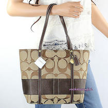 Nwt Coach Signature Stripe Tote Shoulder Bag 11098 Khaki Mahogany Brown New Rare Photo