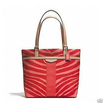 Nwt Coach Signature Stripe Zebra Print Tote Handbag Bag Sv/hot/orange/tan F23283 Photo