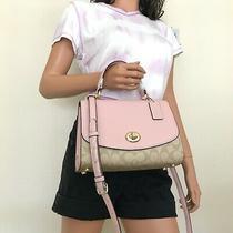 Nwt Coach Signature Tilly Khaki Blossom Leather Top Handle Satchel Bag 76620 Photo