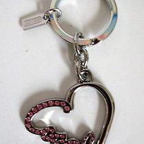 Nwt Coach Silver/pink Pave Heart Script Key Ring/ Key Chain 92631 48 Free Ship  Photo