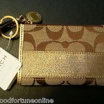 Nwt Coach Skinny Mini Sig Lurex Gold Stripe Coin Id Wallet Card Key Ring F 40749 Photo