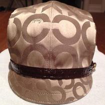 Nwt Coach Small Karee Khaki Signature Fabric Hat 80646 Photo
