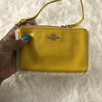 Nwt Coach Small Wristlet Pebbled Leather With Shearling Trim Yellow Leather Photo