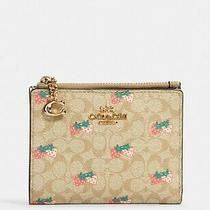Nwt Coach Snap Card Case Wallet in Signature Canvas With Strawberry Print Photo