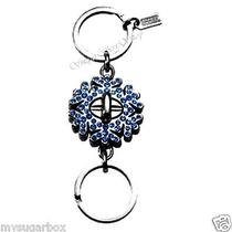 Nwt Coach Snowflake Pave Swarovski Valet Key Ring Chain Fob  93017 Blue Sparkle Photo