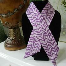 Nwt Coach Solid Lilac Purple Reversible Signature Zebra 100% Silk Ponytail Scarf Photo