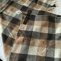 Nwt Coach Square Plaid Fringy Scarf Neck Wrap Medium Charcoal F83830 Brown Tan Photo