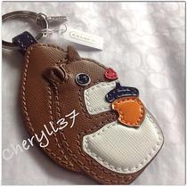 Nwt Coach Stacked Leather Squirrel Acorn Motif Key Ring Chain Fob Photo