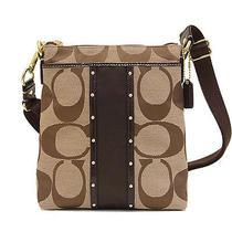 Nwt Coach Studded Stripe Swingpack Bag in Khaki/mahogany F 48099 Photo
