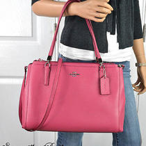 Nwt Coach Sunset Red Crossgrain Leather Christie Carryall Tote F34672 Photo